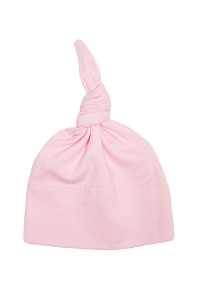 basic knotted beanie in ballet pink