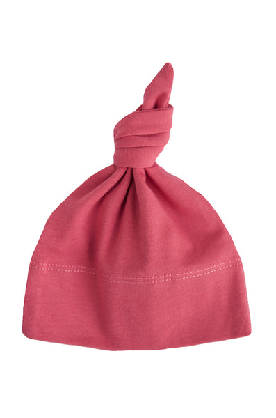 basic knotted beanie in dusty pink