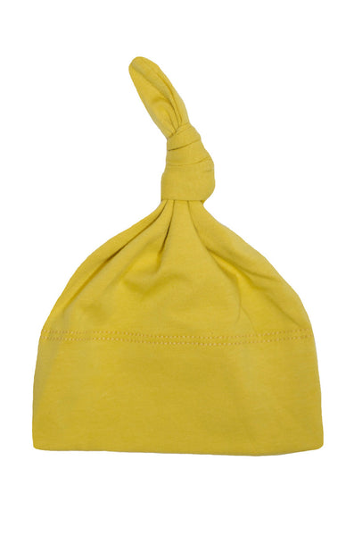 basic knotted beanie in mustard