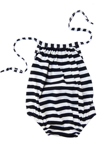 summer sunsuit in black and white stripe *SIZE DOWN ONE OR TWO SIZES*