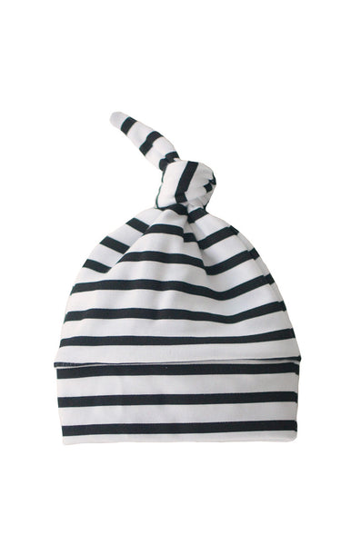 knotted beanie in black and white stripes