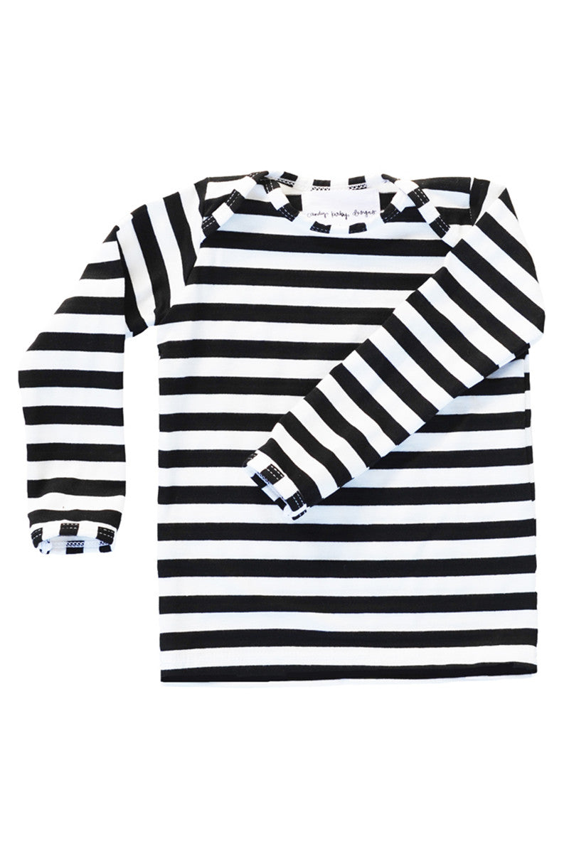 basic long sleeved tee in black and white stripe