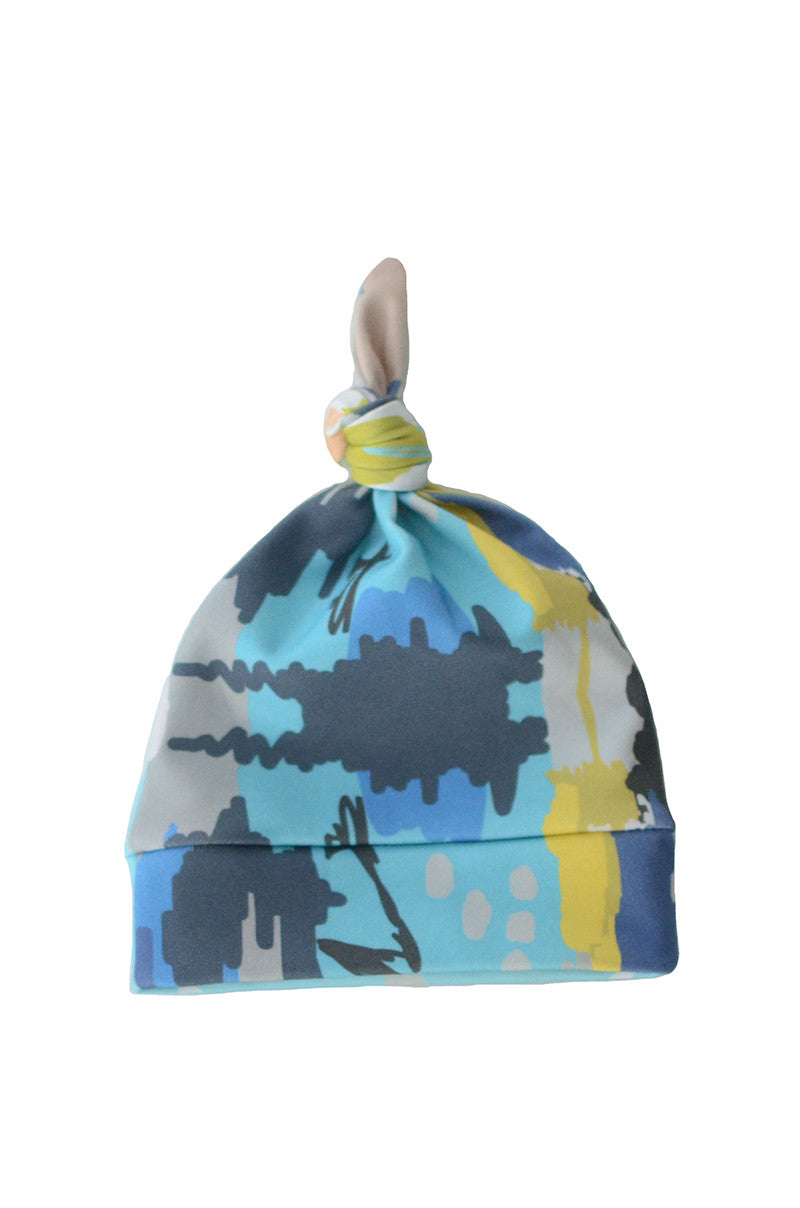 knotted beanie in blue watercolor ikat