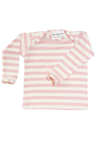 basic long sleeved tee in blush and natural stripes