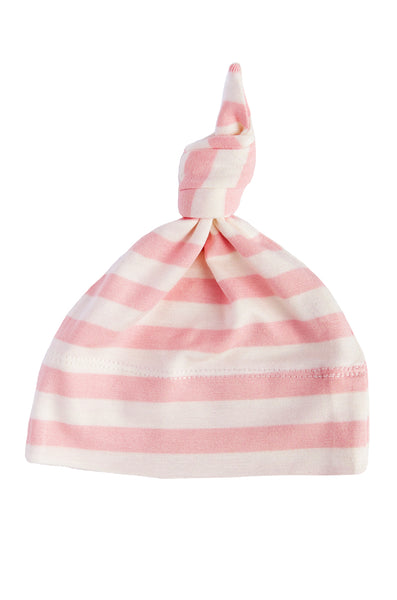 basic knotted beanie in blush and natural stripe