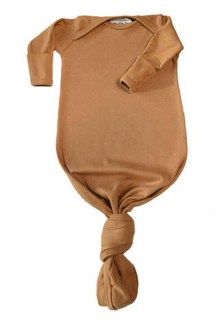knotted baby gown in camel *with NEW fold-over mittens*