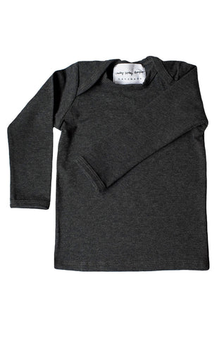 basic long sleeved tee in heather charcoal