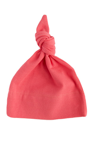 basic knotted beanie in coral
