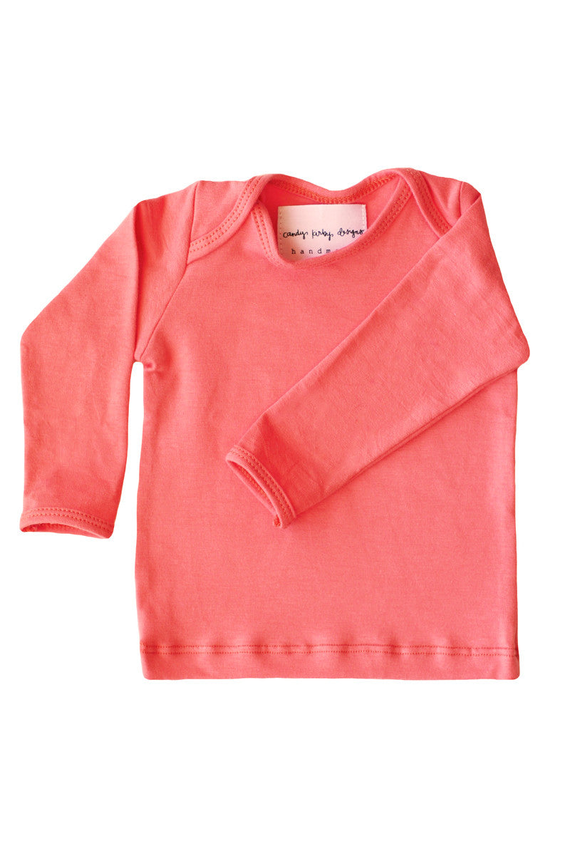 basic long sleeved tee in in coral