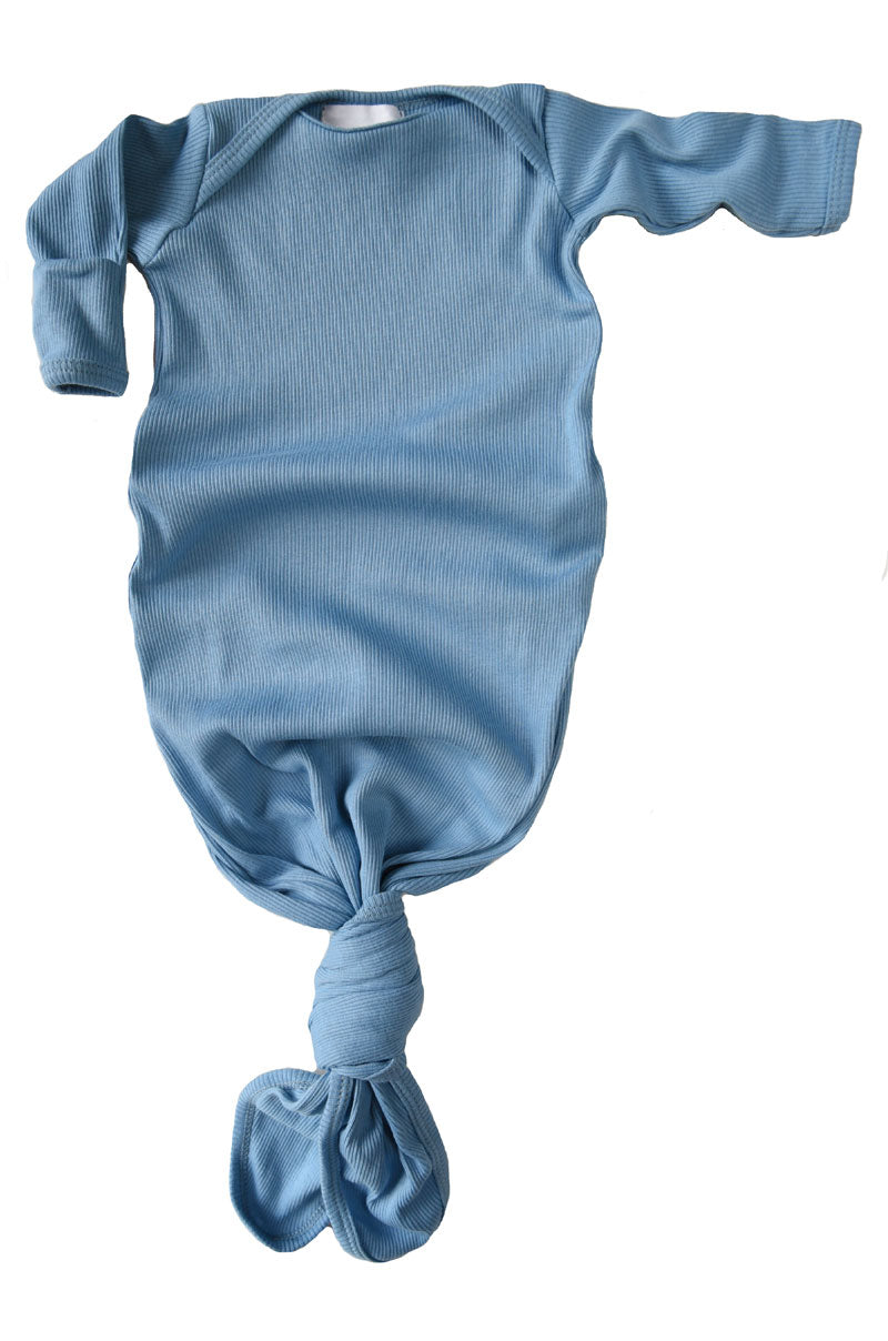 knotted baby gown in cornflower blue rib *with NEW fold-over mittens*