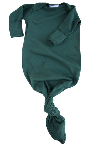 knotted baby gown in evergreen *with NEW fold-over mittens*