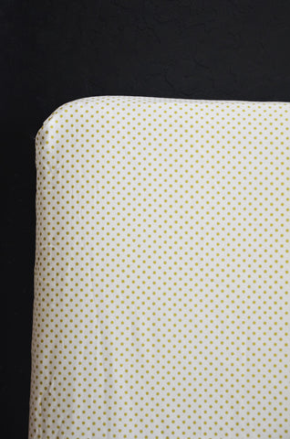 fitted crib sheet in metallic gold polka dots
