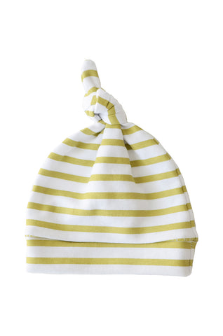 knotted beanie in metallic gold and white stripes