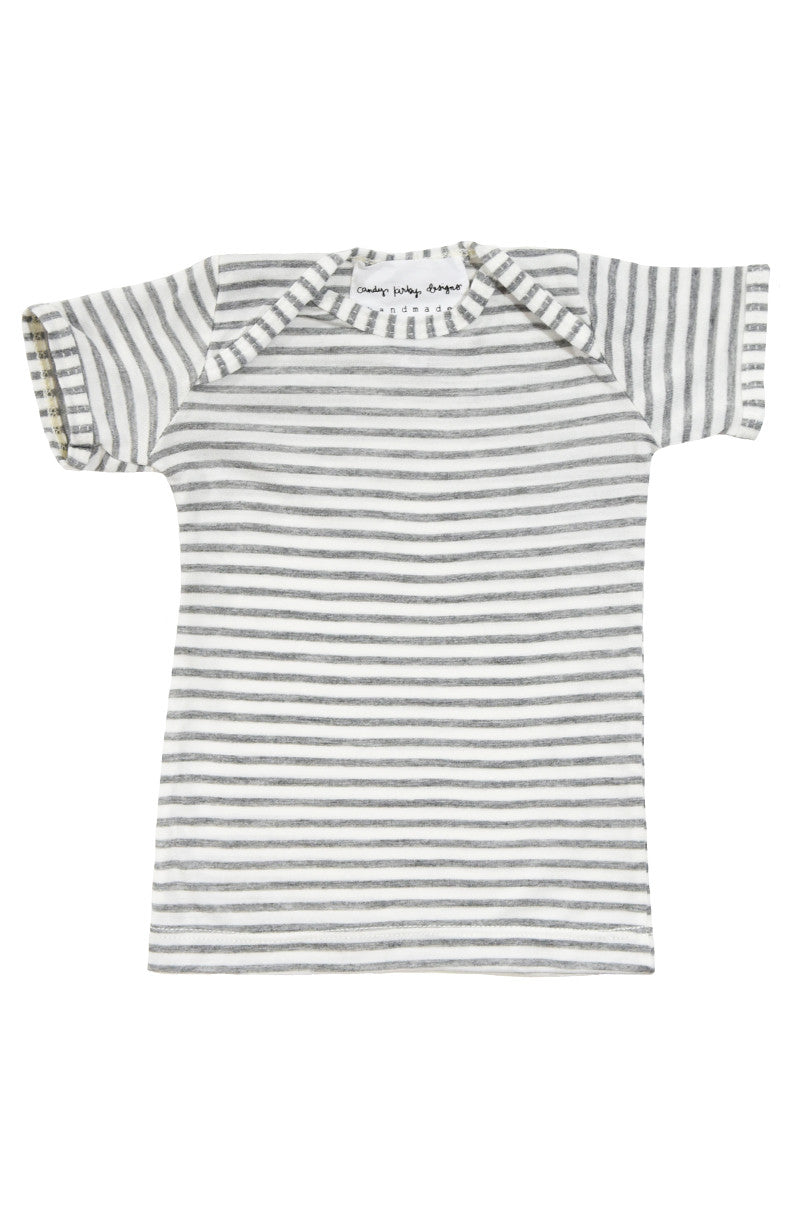 basic short sleeved tee in grey and natural stripe