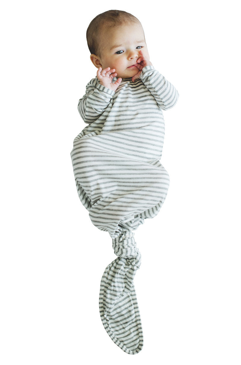 knotted baby gown in grey and natural stripes