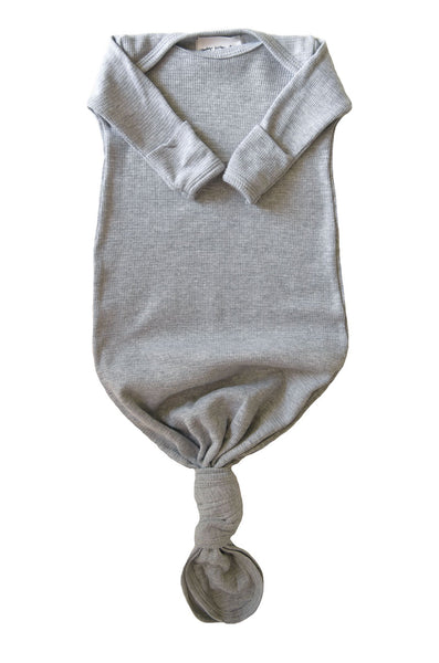 knotted baby gown in heather grey thermal *with NEW fold-over mittens*