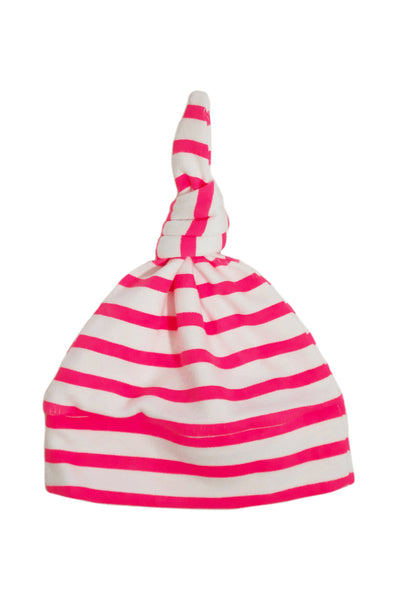 knotted beanie in neon hot pink and white stripes