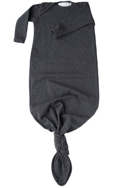 knotted baby gown in heather charcoal grey