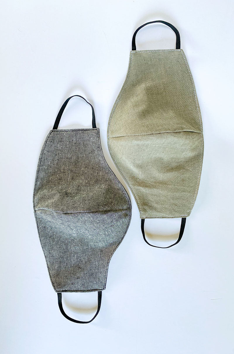 the men's mask in green & grey melange