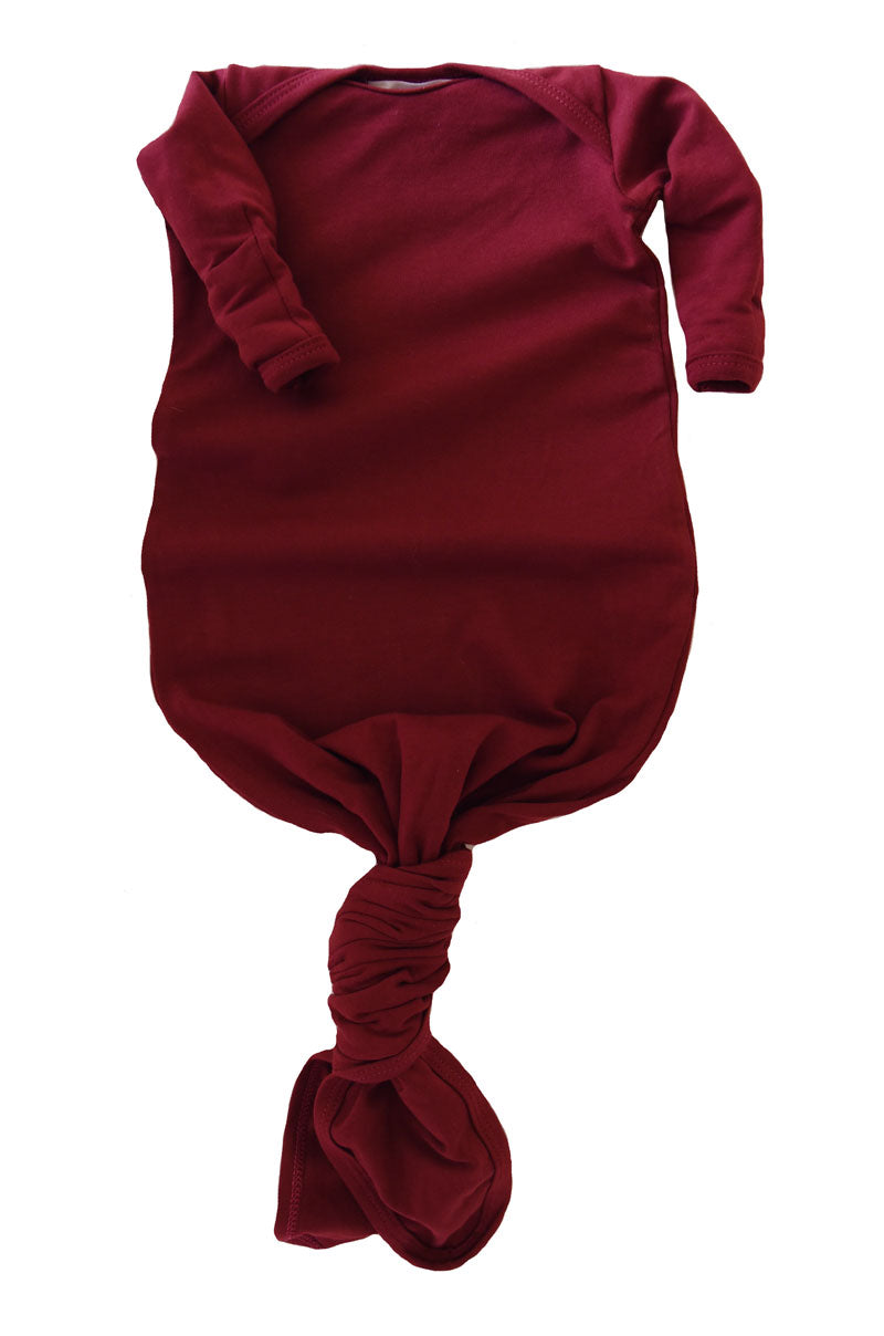 knotted baby gown in merlot *with NEW fold-over mittens*