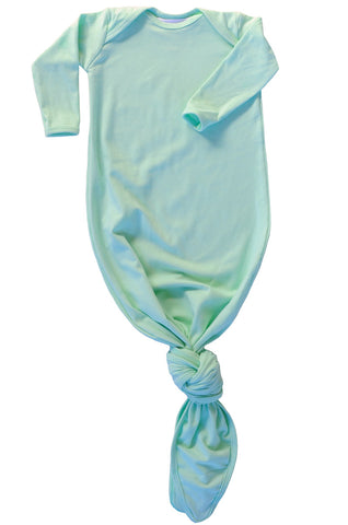 knotted baby gown in mint *with NEW fold-over mittens*