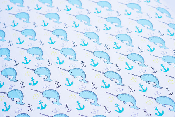 fitted crib sheet in narwhal