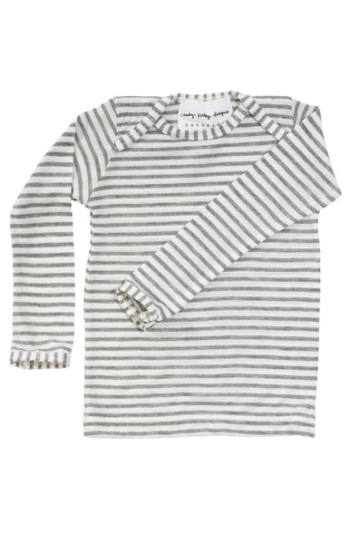 basic long sleeved tee in grey and natural stripe