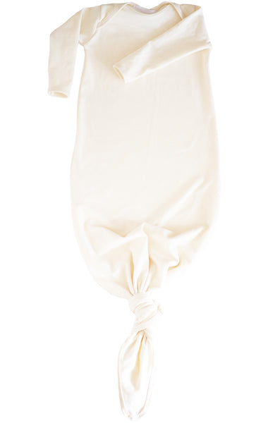 knotted baby gown in natural *with NEW fold-over mittens*