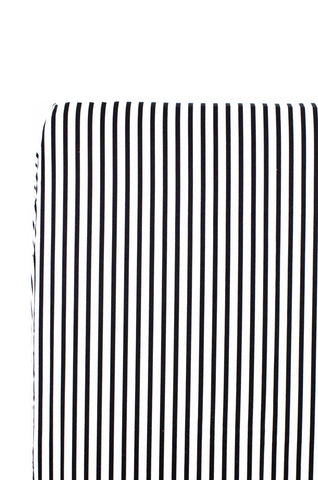 fitted crib sheet in black and white stripes