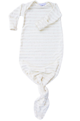 knotted baby gown in marled oatmeal and cream stripe *with NEW fold-over mittens*