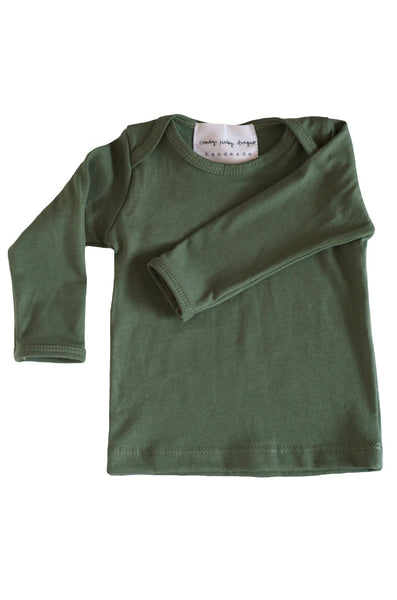 basic long sleeved tee in olive