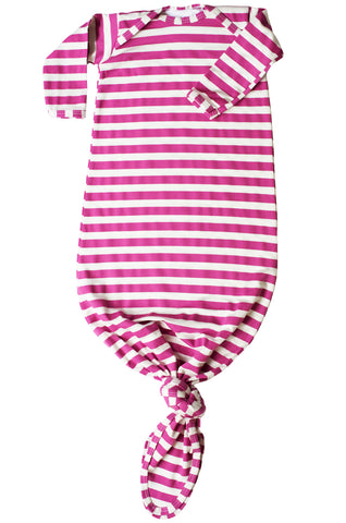 knotted baby gown in radiant orchid and white stripes