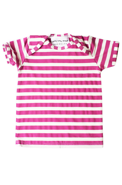 basic short sleeved tee in radiant orchid and white stripe