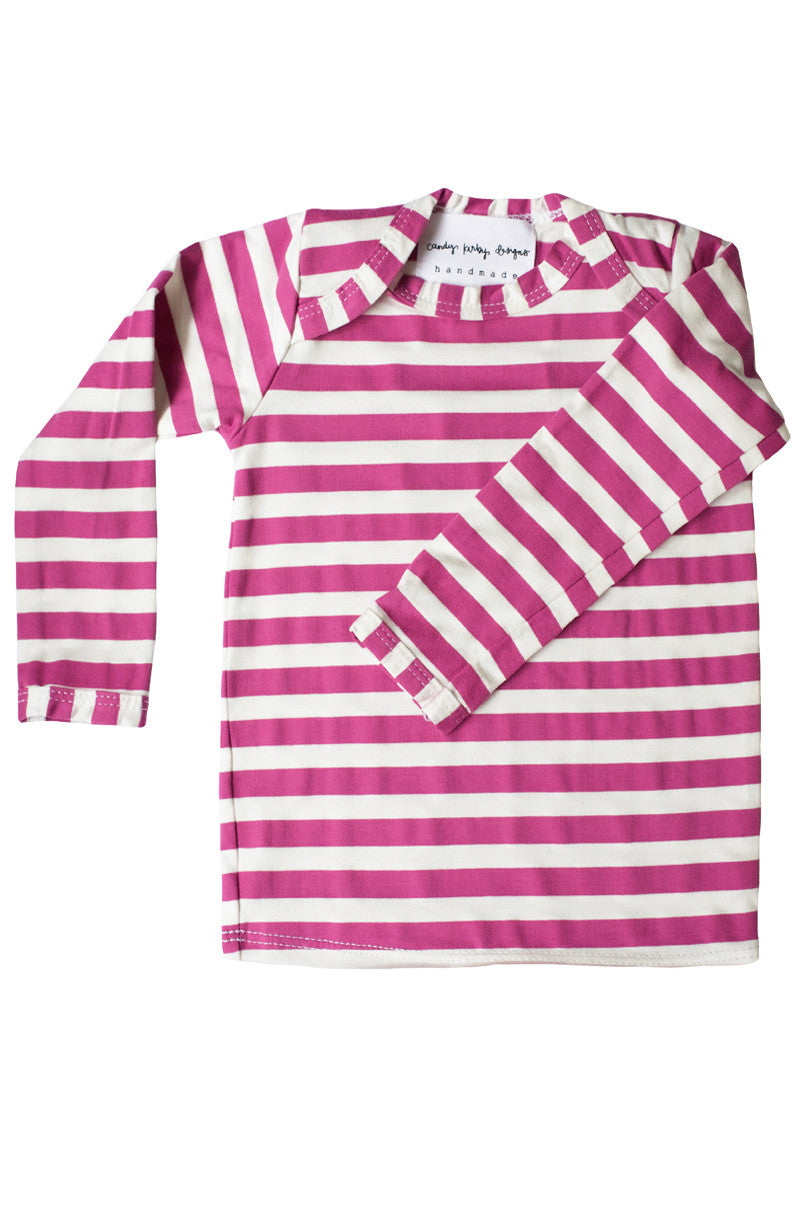 basic long sleeved tee in radiant orchid and white stripes