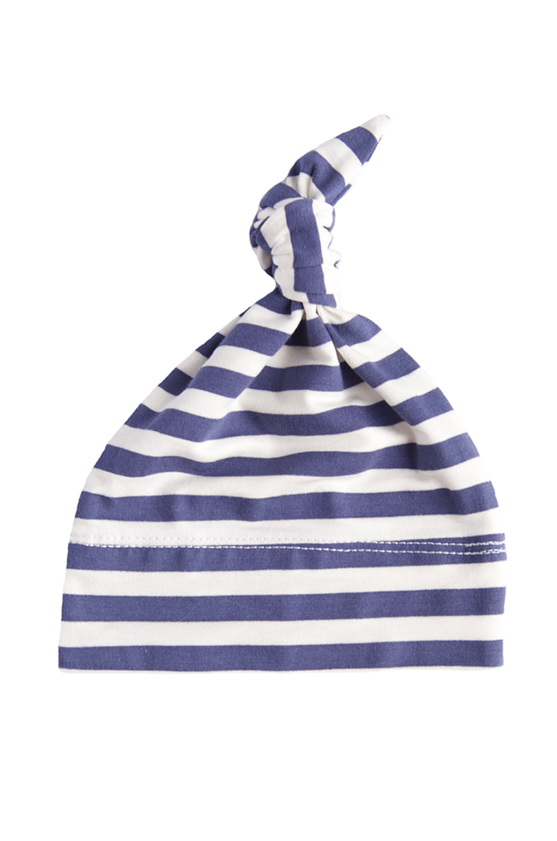 basic knotted beanie in slate and white stripe