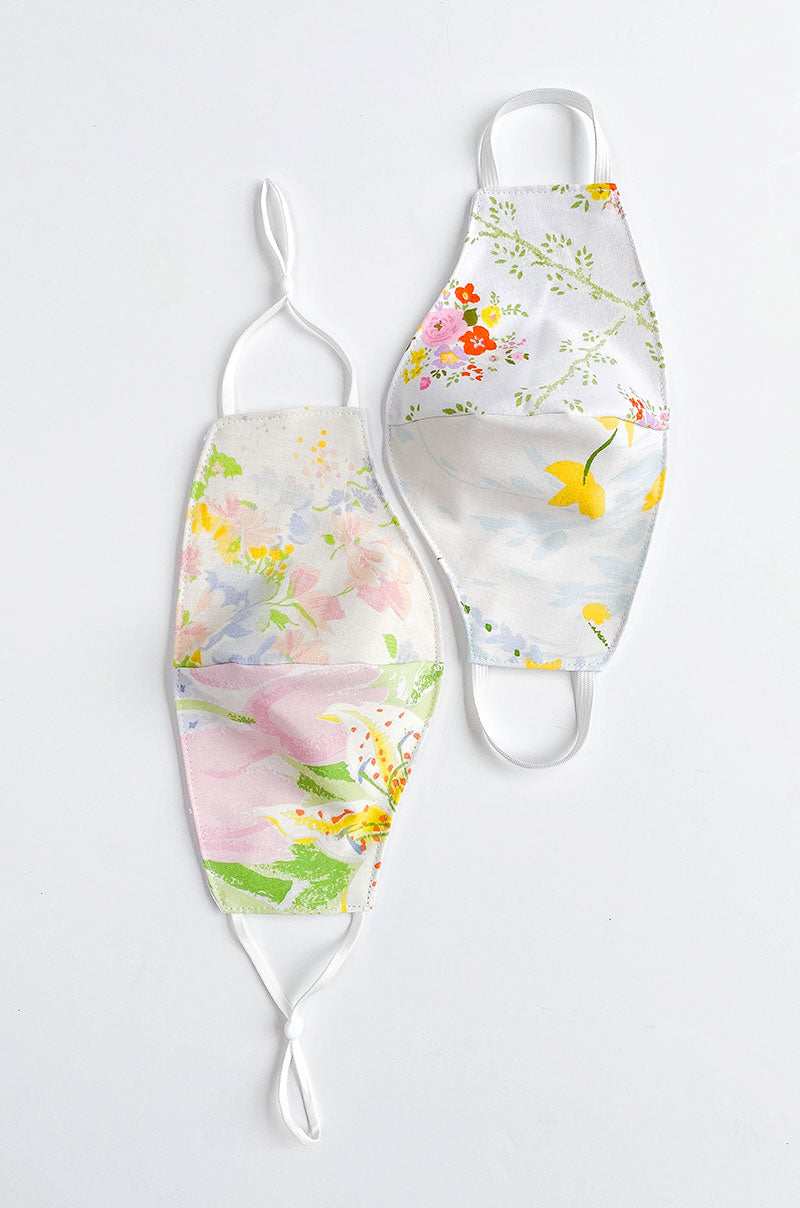 the women's mask in vintage floral and swiss dot