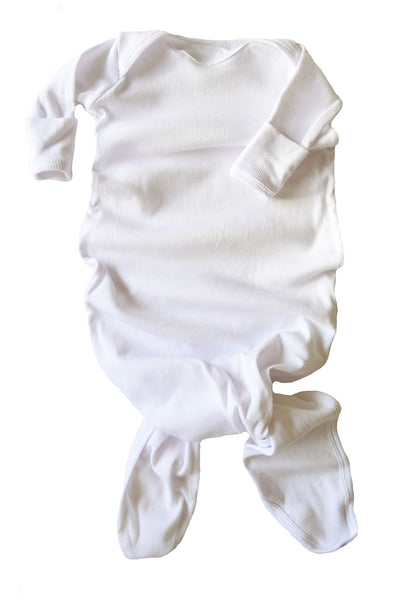 knotted baby gown in white rib *with NEW fold-over mittens*