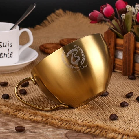 Barista Space Stainless Steel Cup 250ml Sandy Golden