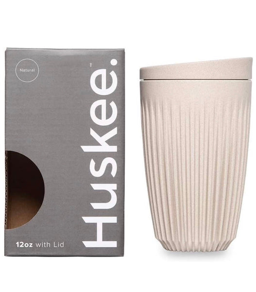 12oz Huskee Cup & Lid - White