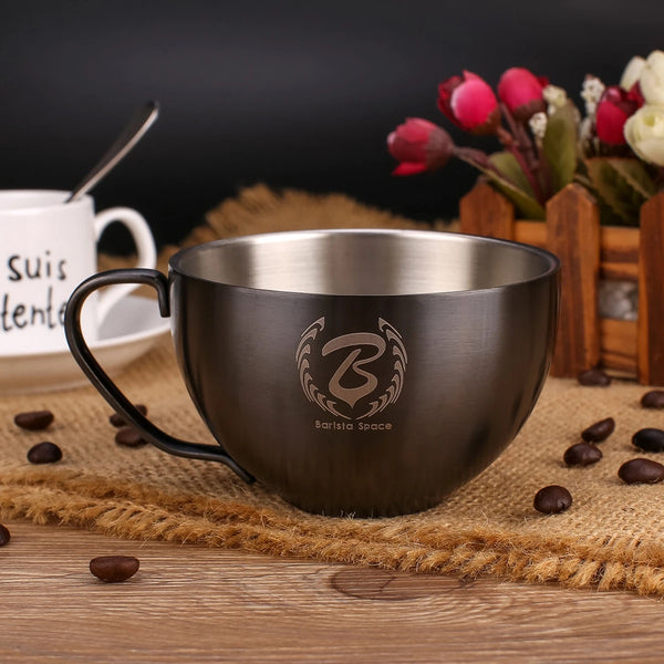 Barista Space Stainless Steel Cup 250ml Sandy Black