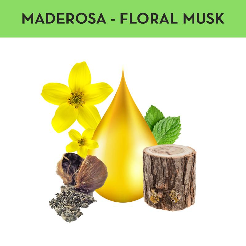 PERFUME60ML CABALLERO MADEROSA FLORAL MUSK notas verdes, sandalo y madera