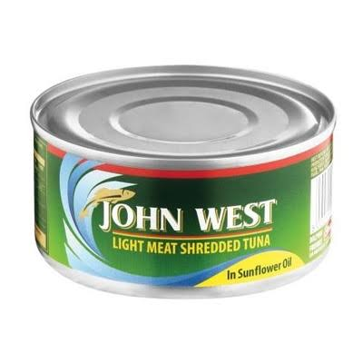 JOHN WEST SHREDDED TUNA IN SUNFLOWER OIL 170G