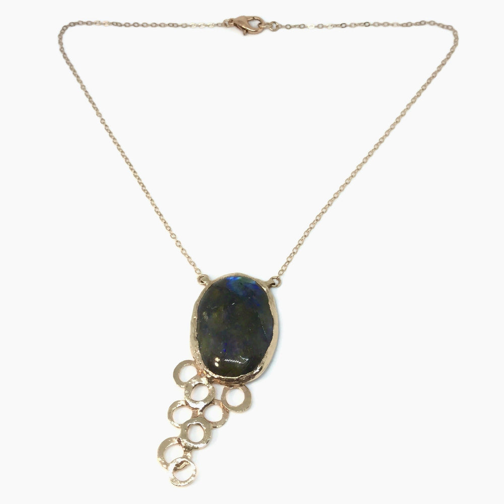 Load image into Gallery viewer, Rose Gold Labradorite Bubble Necklace
