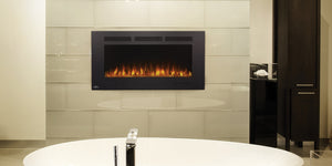 The Allure™ Phantom 42 electric fireplace effortlessly heats large spaces, providing the luxury that you can just hang. The slim depth won't intrude into the space. The Allure™ Phantom can be fully recessed for a more seamless look. A matte surround and mesh front provide a completely unobstructed view of the glass ember bed and beautiful flames. Use the included remote or front control panel to adjust the flame intensity, flame color, blower, heat output, and set the timer.
