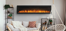 Load image into Gallery viewer, Make a statement with the Napoleon Entice™ 72 Electric Fireplace. This fireplace puts out an incredible amount of heat, glittering with multicolored flames and a crystal ember bed. You don't need a specialist or a gas fitter for this expansive beauty, just hang on the wall and plug in for instant transformation of your space. Traditional orange flames, or cool blue flames, or a combination of the two will set the mood.