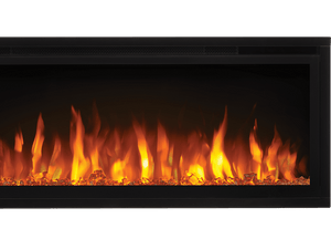 Make a statement with the Napoleon Entice™ 36 Electric Fireplace. This fireplace puts out an incredible amount of heat, glittering with multicolored flames and a crystal ember bed. You don't need a specialist or a gas fitter for this expansive beauty, just hang on the wall and plug in for instant transformation of your space. Traditional orange flames, or cool blue flames, or a combination of the two will set the mood.