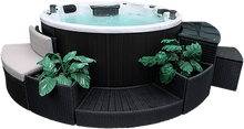 Load image into Gallery viewer, Ottawa 38-Jet 6-Person Spa. Description:Slow down and enjoy each other's company in a Canadian Spa Company Ottawa hot tub while 38 adjustable hurricane jets help to work out that knot in your back. This tub is perfect for any family as it fits 6-people comfortably. A powerful 16 amp 5HP 2 Speed pump and adjustable air valves ensure that everyone receives the pressure that they require.  The Ottawa hot tub features perimeter multi-coloured LED lighting and a Bluetooth Audio System.  Furntitures NOT Included