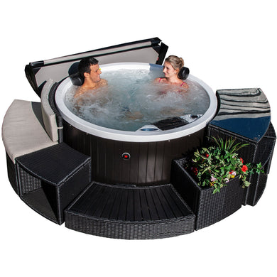 Okanagan 10-Jet 4-Person Plug & Play Spa.The Canadian Spa Company Okanagan Plug & Play spa fits in almost any location. This roomy but compact spa is packed with features of a full-sized spa and easily accommodates 4 adults. It features 10 adjustable stainless steel hydrotherapy jets and is energy-efficient and easy to install – just plug it into an outlet and start relaxing right away!