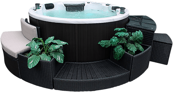 Ottawa 38-Jet 6-Person Spa. Description:Slow down and enjoy each other's company in a Canadian Spa Company Ottawa hot tub while 38 adjustable hurricane jets help to work out that knot in your back. This tub is perfect for any family as it fits 6-people comfortably. A powerful 16 amp 5HP 2 Speed pump and adjustable air valves ensure that everyone receives the pressure that they require.  The Ottawa hot tub features perimeter multi-coloured LED lighting and a Bluetooth Audio System.  Furntitures NOT Included