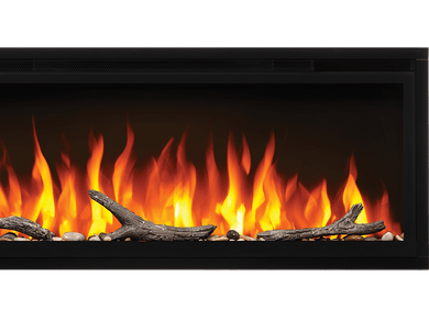 Make a statement with the Napoleon Entice™ 42 Electric Fireplace. This fireplace puts out an incredible amount of heat, glittering with multicolored flames and a crystal ember bed. You don't need a specialist or a gas fitter for this expansive beauty, just hang on the wall and plug in for instant transformation of your space. Traditional orange flames, or cool blue flames, or a combination of the two will set the mood.